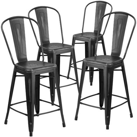 Metal Black Counter Stools - Flash Furniture 4pk 24'' High Distressed Metal Indoor Counter Height Stool with Back, Multiple Colors