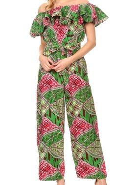 Sakkas Lelisa Ruffle Off-shoulder Long Jumpsuit w/pockets Wax African Ankara Dutch - 408-royalblue/geometric - One Size Regular