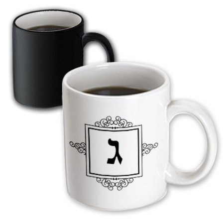 3dRose Gimel Hebrew Monogram for the letter G or J initial aleph bet gimmel - Magic Transforming Mug, 11-ounce