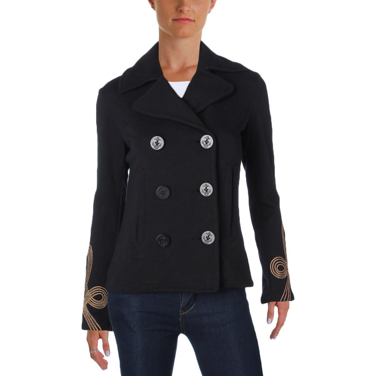 Denim & Supply Ralph Lauren Womens Knit Embroidered Pea Coat