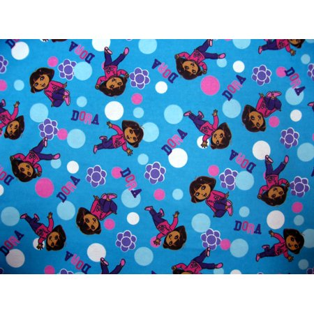 Sheetworld Fitted 100  Cotton Flannel Pack N Play Sheet  For Graco   Dora Blue