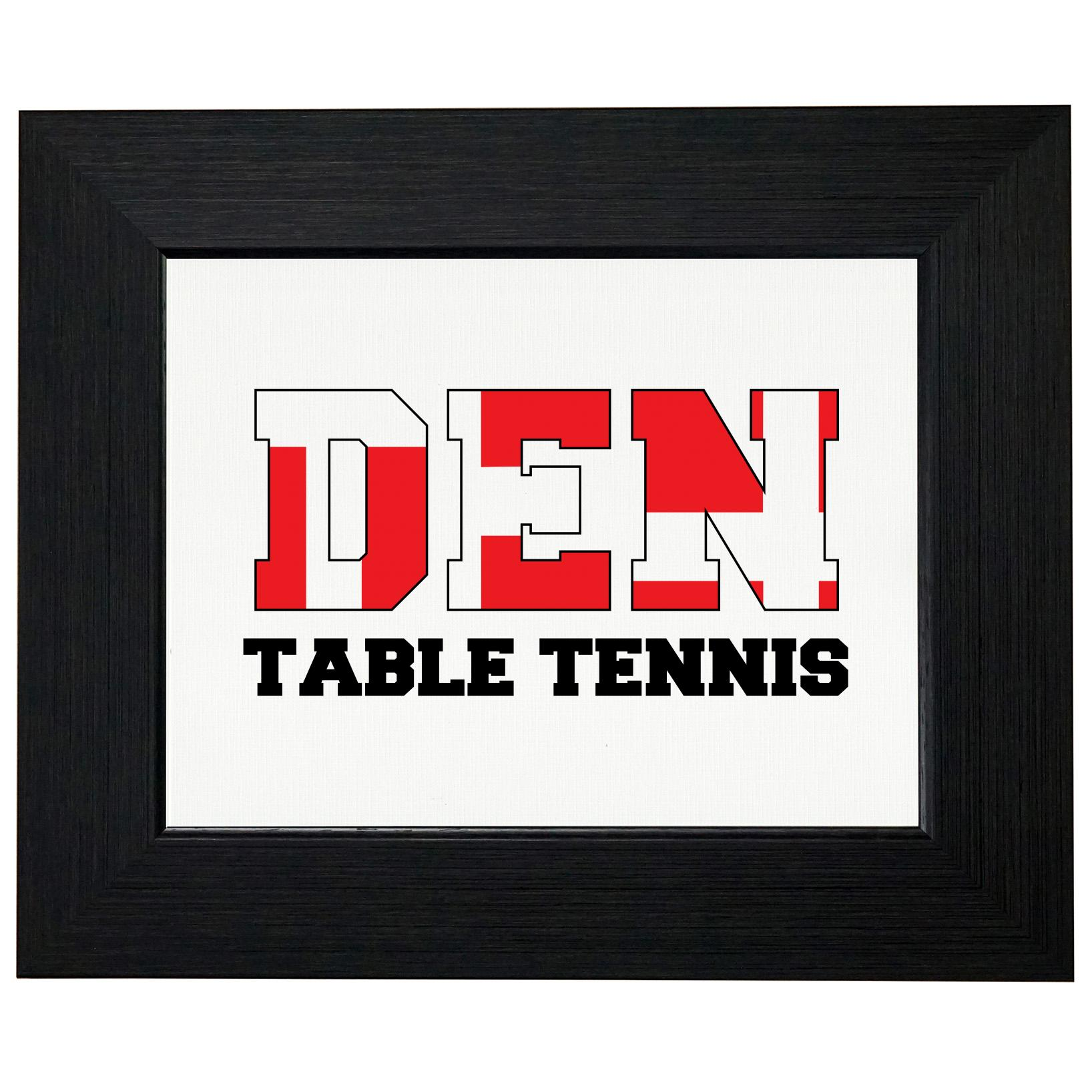 Denmark Ping Pong Olympic Games Rio Flag Framed Print Poster Wall or Desk Mount Options by Royal Prints
