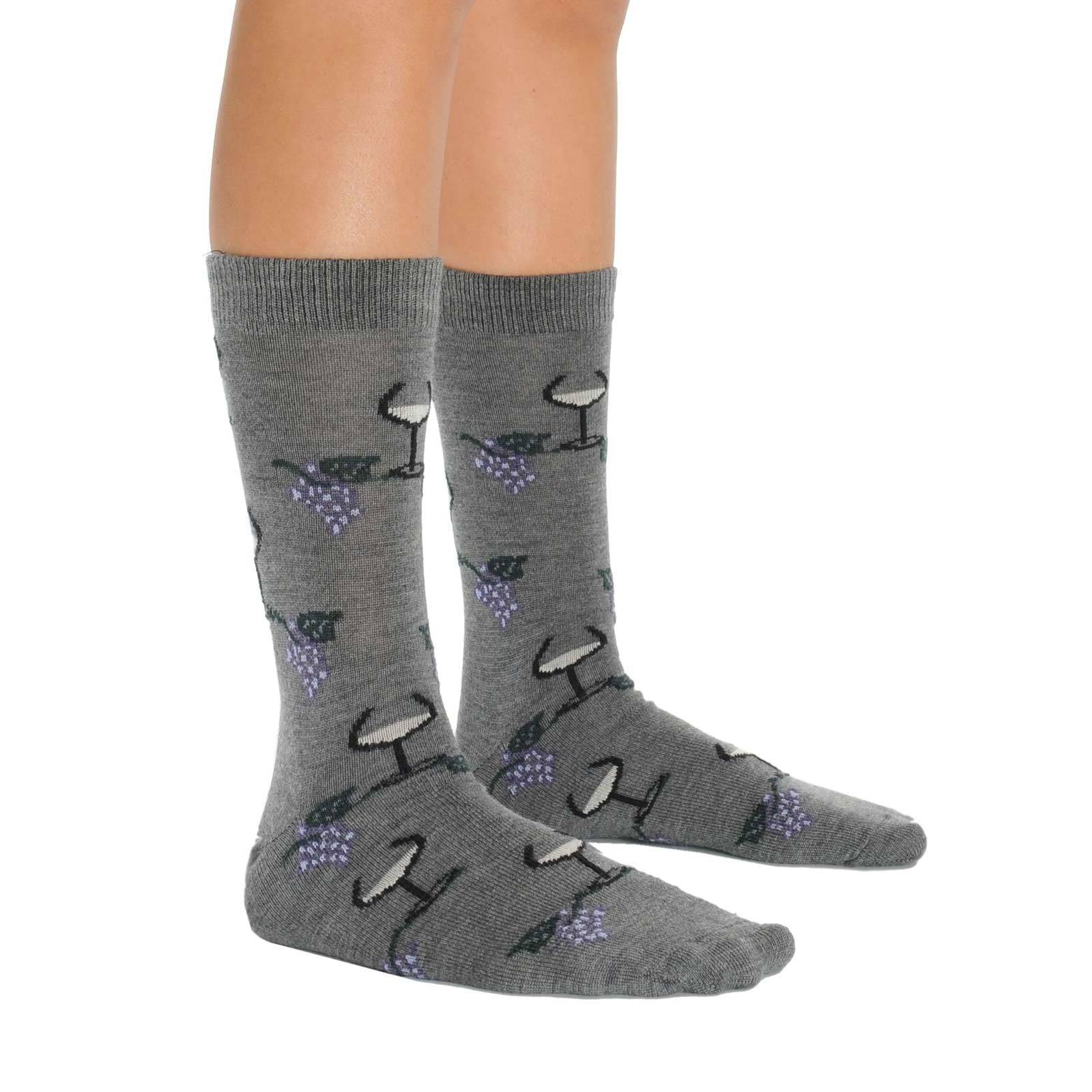 Mens Comfortable Merino Wool Socks Wine Glass and Grape Design 3 Color Options by Wool Socks