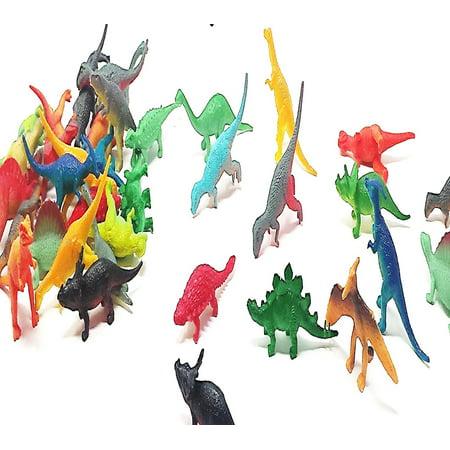 Play Kreative Vinyl Mini Dinosaurs -  72 Pack - Plastic Mini Educational Dinosaur Figures Animal Toys