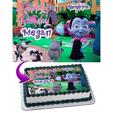 Vampirina Edible Image Cake Topper Personalized Icing Sugar Paper A4 Sheet Edible Frosting Photo Cake 1/4 Edible Image for cake - Halloween Cakes Photos