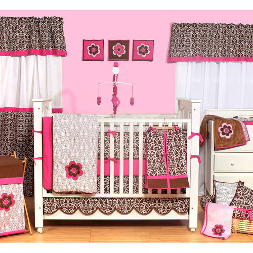 Bacati Damask Pink/Chocolate Girls 10pc Nursery-in-a-Bag Crib Bedding Set with Bumper Pad  for US standard Cribs