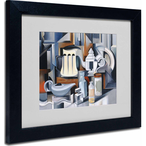 "Trademark Fine Art ""Still Life With Teapots"" Matted Framed Art by Catherine Abel, Black Frame"