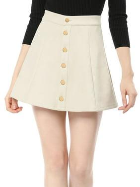 Women's Mid Rise Button Closure Front Bonded Suede A-Line Mini Skirt Dress