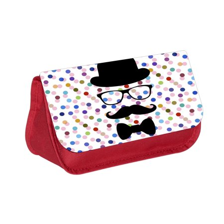 Hipster Elements on Polka Dot Print -  Red Cosmetic Case - Makeup Bag - with 2 Zippered Pockets