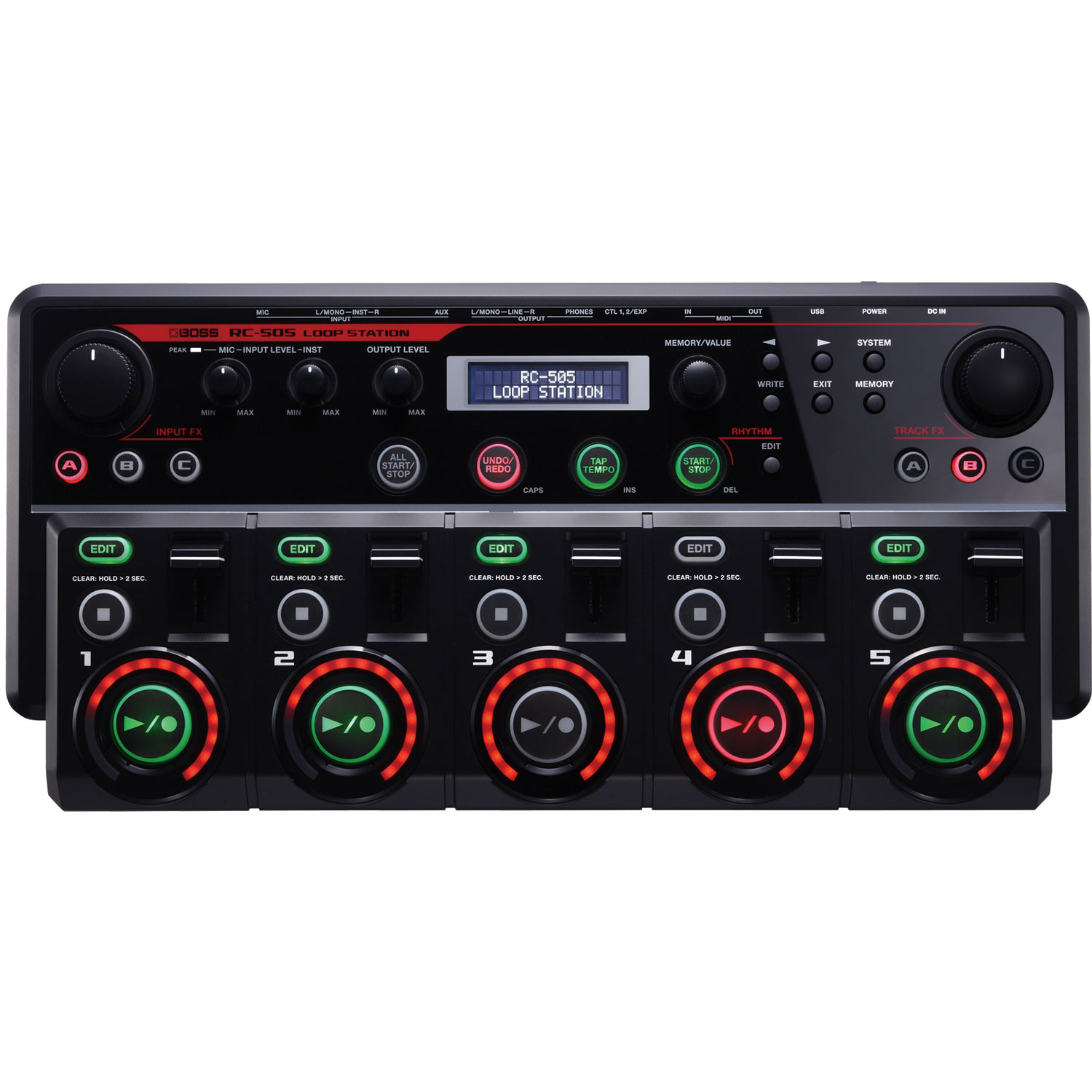 Boss RC-505 Guitar Effects 5 Stereo Phrase Tracks Tabletop Loop Station, Black