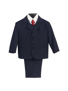 Boys Navy Wedding 5 Pcs Special Occasion Suit 18 Husky