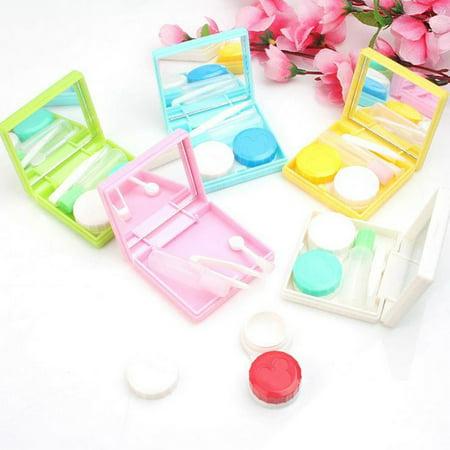 1pc Lenses Glasses Box Biscuits Contact Lens Case Color (Solid Color Contact Lenses)