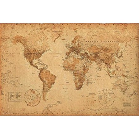 Antique Vintage World Map 36x24 Art Print Poster   Educational