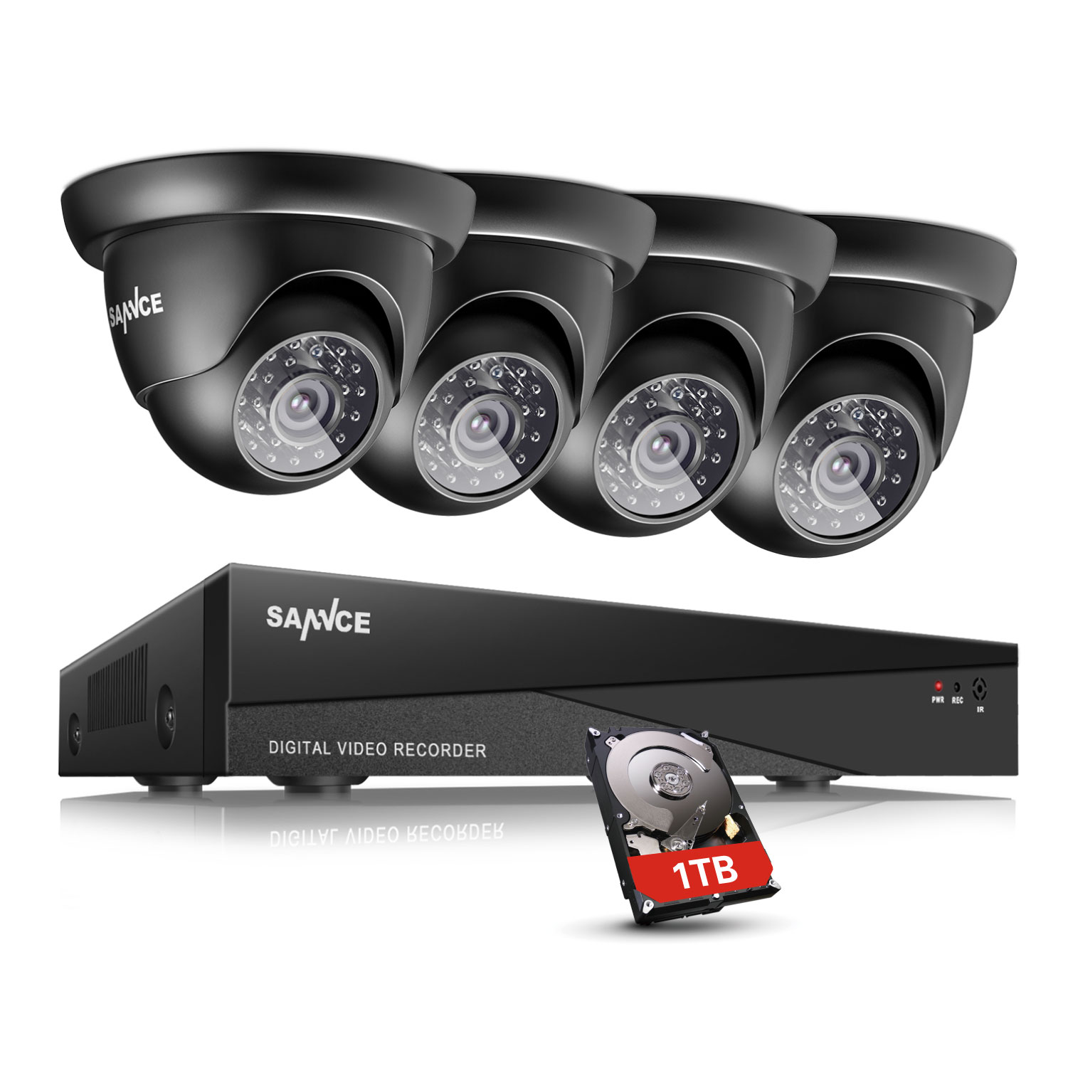 SANNCE Surveillance System 1080N 8CH 5-in-1 HD DVR 4 720P Security System Dome Cameras with NO Hard Drive Disk