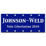 "Johnson-Weld Vote Libertarian- 3.75"" x 9"" Bumper Sticker - 2016 Decal Truck Bumper (2)"