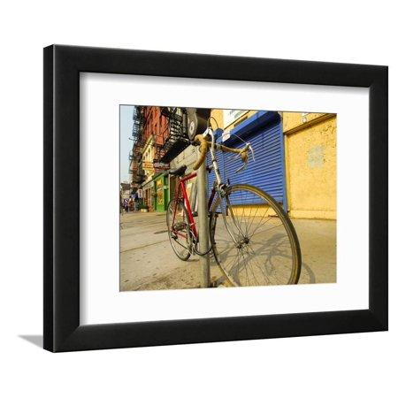 Bike Chained Up, Philadelphia, Pennsylvania, USA Framed Print Wall Art By Ellen Clark (Bicycle Chain Art)