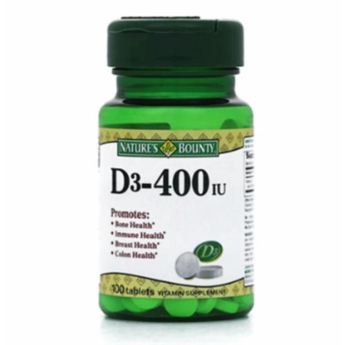 Nature's Bounty Vitamin D 400 IU Tablets 100 ea (Pack of 2)