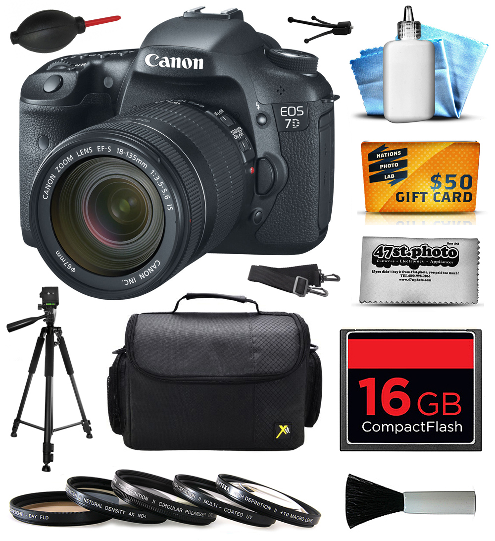 Canon EOS 7D 18 MP CMOS Digital SLR Camera with 18-135mm f 3.5-5.6 IS UD Lens with 16GB Memory + Large Case +... by Canon