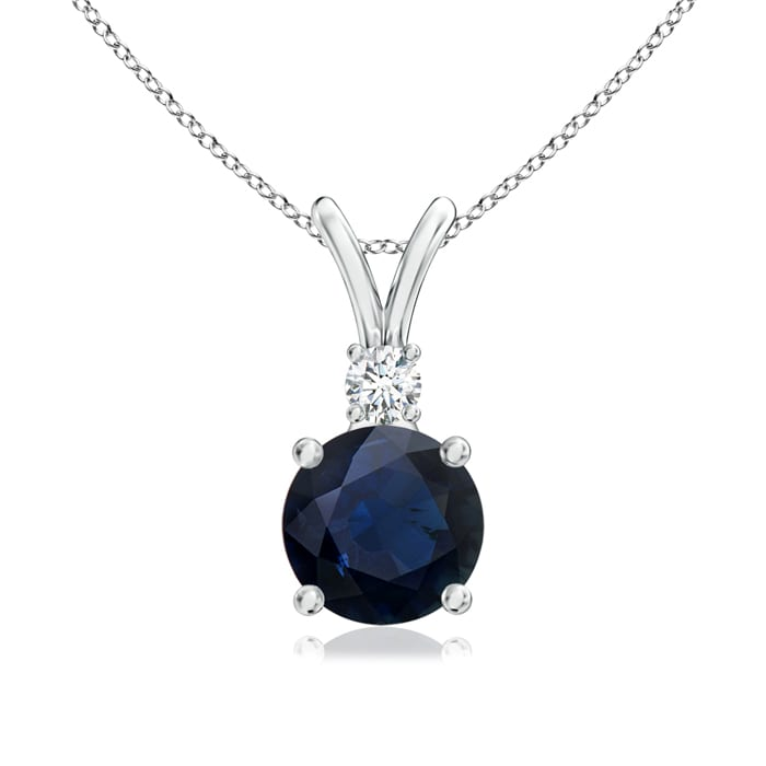 Angara Round Sapphire Solitaire Pendant with Diamond Platinum klG9GnceMl