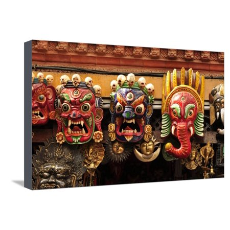 Folk Art of Nepal, Paper Mache Masks Stretched Canvas Print Wall Art By Jaina Mishra