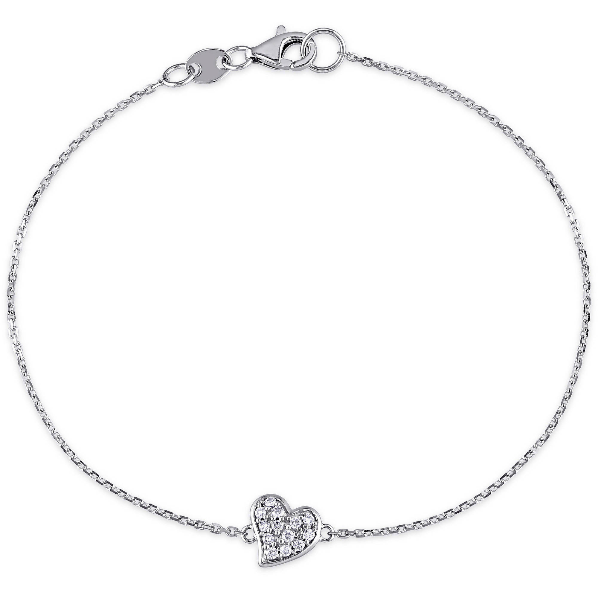 "Miabella 1 10 Carat T.W. Diamond 14kt White Gold Heart Bracelet, 7"" by Miabella"