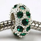 Dark Green Rhinestone Crystal Charm Bead. Compatible With Most Pandora Style Charm Bracelets. (Crystal Pandora Charms)