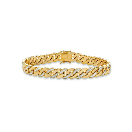 White Dial Two Tone Bracelet (Men's Diamond Accent Pave-Style Two-Tone Curb-Link Bracelet 14k Yellow Gold-Plated 8.5