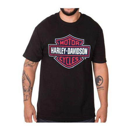Harley-Davidson Men's RWB Bar & Shield Logo Short Sleeve Crew T-Shirt, Black, Harley