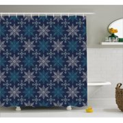 Snowflake Shower Curtain Winter Holiday Theme Eight Pointed Star Christmas Pattern Fabric Bathroom Set