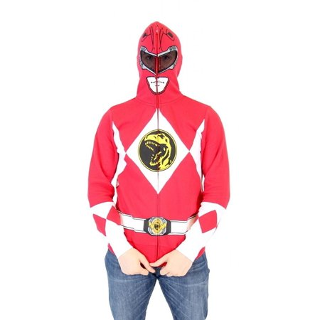 Power Rangers I Am Red Ranger Adult Full Zip Costume Hoodie - Power Ranger Hoodies For Adults