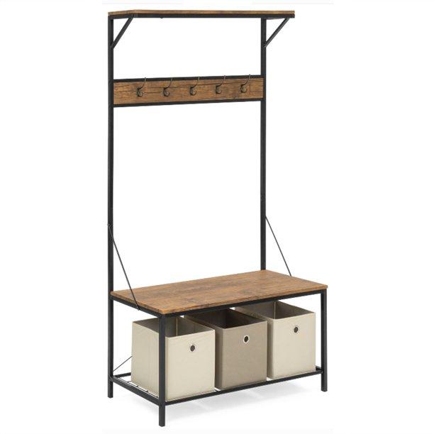 "71"" Entryway Coat Rack Shoe Storage Bench, 3 Tiers and 5 Hooks Hall Tree Storage Organizer Shelf"