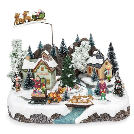 BCP Animated Musical Pre-Lit Tabletop Christmas Village w/ Rotating Tree Animated Musical Christmas Tree