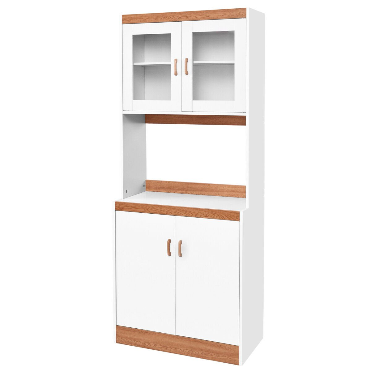 Gymax Tall Microwave Cart Stand Kitchen Storage Cabinet Shelves