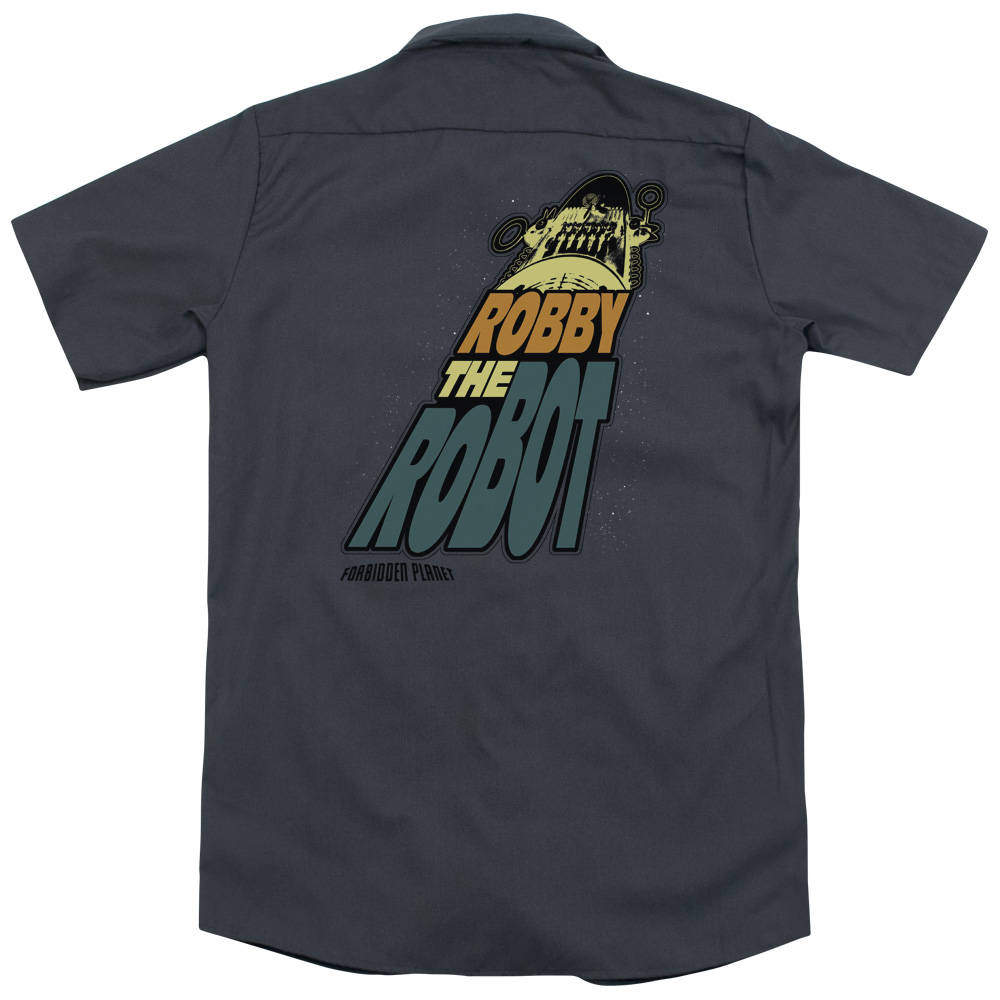 Forbidden Planet Robby The Robot (Back Print) Mens Work Shirt