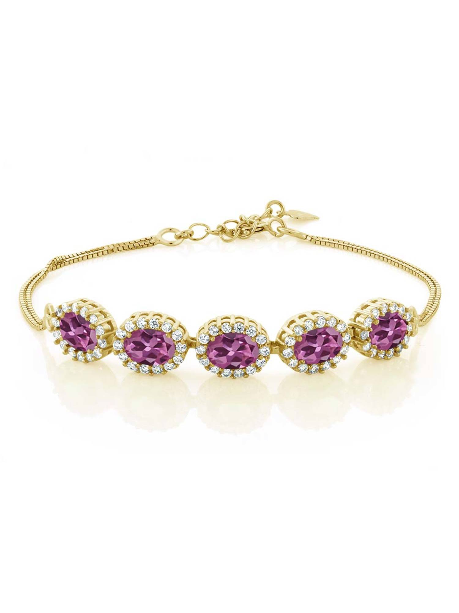4.54 Ct Oval Pink Tourmaline AA 18K Yellow Gold Plated Silver Bracelet by