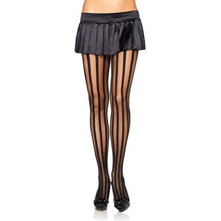 Sheer Pantyhose with Opaque Vertical Stripes, Black, One Size Avenue Opaque Tights
