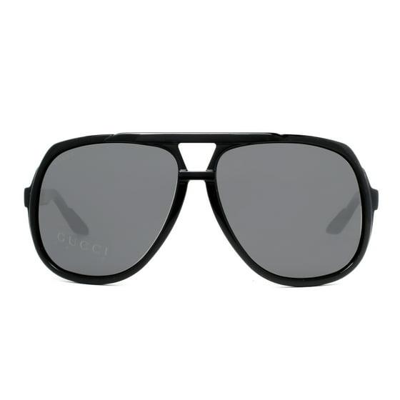 90c13777087 GUCCI - Gucci GG 1622 S D28 R6 Shiny Black Grey Square Aviator ...