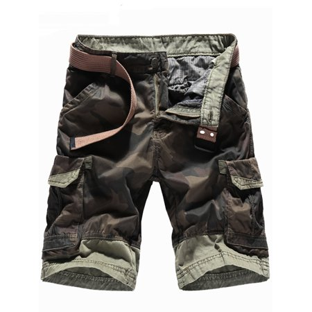 Men's Camouflage Shorts Multi Pocket Straight Fit Cargo Shorts Loose Fit Cotton Twill Cargo Shorts Khaki for Beach Outdoor Cotton Cargo Pocket Shorts