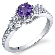 Peora 0.50 Ct Amethyst Engagement Ring in Rhodium-Plated Sterling Silver
