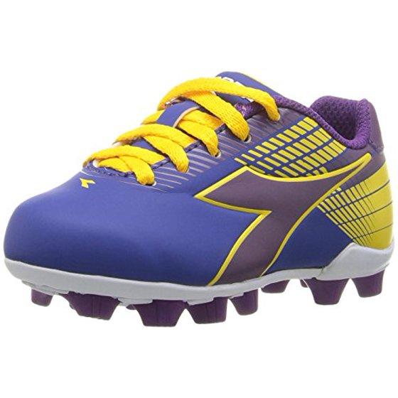 7dc9975c Diadora Kids Ladro MD Jr Soccer Shoe, Black/Yellow/Purple, 4 M US Big Kid
