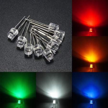10X 35mm Water Clear LED Emitting Diodes Kit 5 Color Assortment Lamp Light DIY US