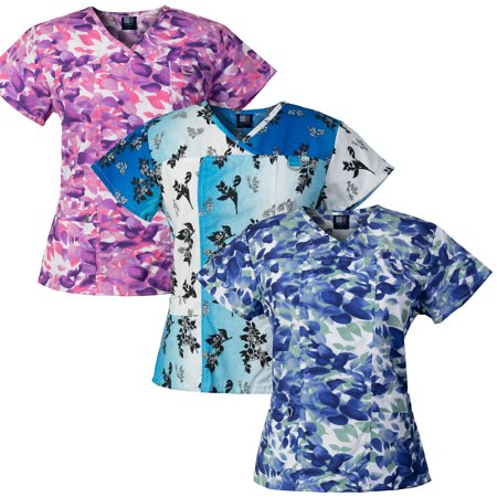 Medgear 3-PACK Womens Printed Medical Scrub Tops with 4 Pockets & ID Loop Medical Scrubs Women