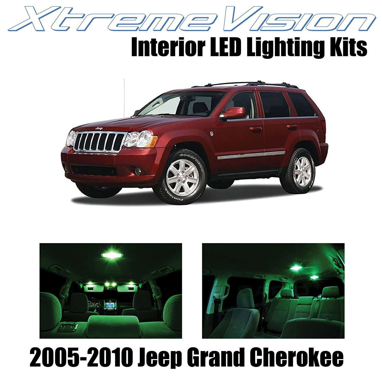 XtremeVision LED for Jeep Grand Cherokee 2005-2010 (9 Pieces) Green Premium Interior LED Kit Package + Installation Tool