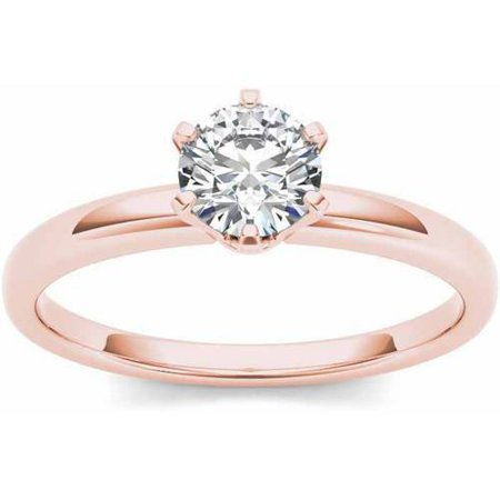 1 Carat T.W. Diamond Six-Prong Solitaire 14kt Rose Gold Engagement Ring