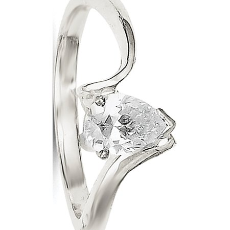 Sterling Silver Pear Shaped CZ Ring (Wear Pear Shaped Ring)