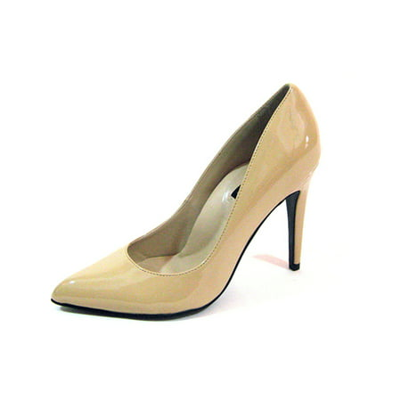 "Highest Heel Womens 4"" Plain Pump Nude Patent PU Shoes"
