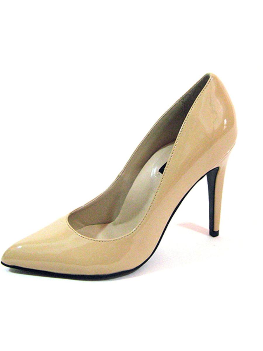 "Highest Heel Womens 4"" Plain Pump Nude Patent PU Shoes"