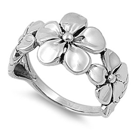 Sterling Silver Women's Plumeria Fashion Ring Beautiful 925 Band 12mm Size 13 ()
