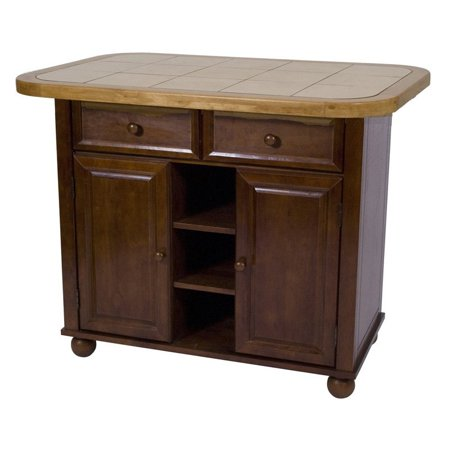 Sunset Trading Nutmeg Small Kitchen Island With Light Oak Trim And Khaki Tile Top