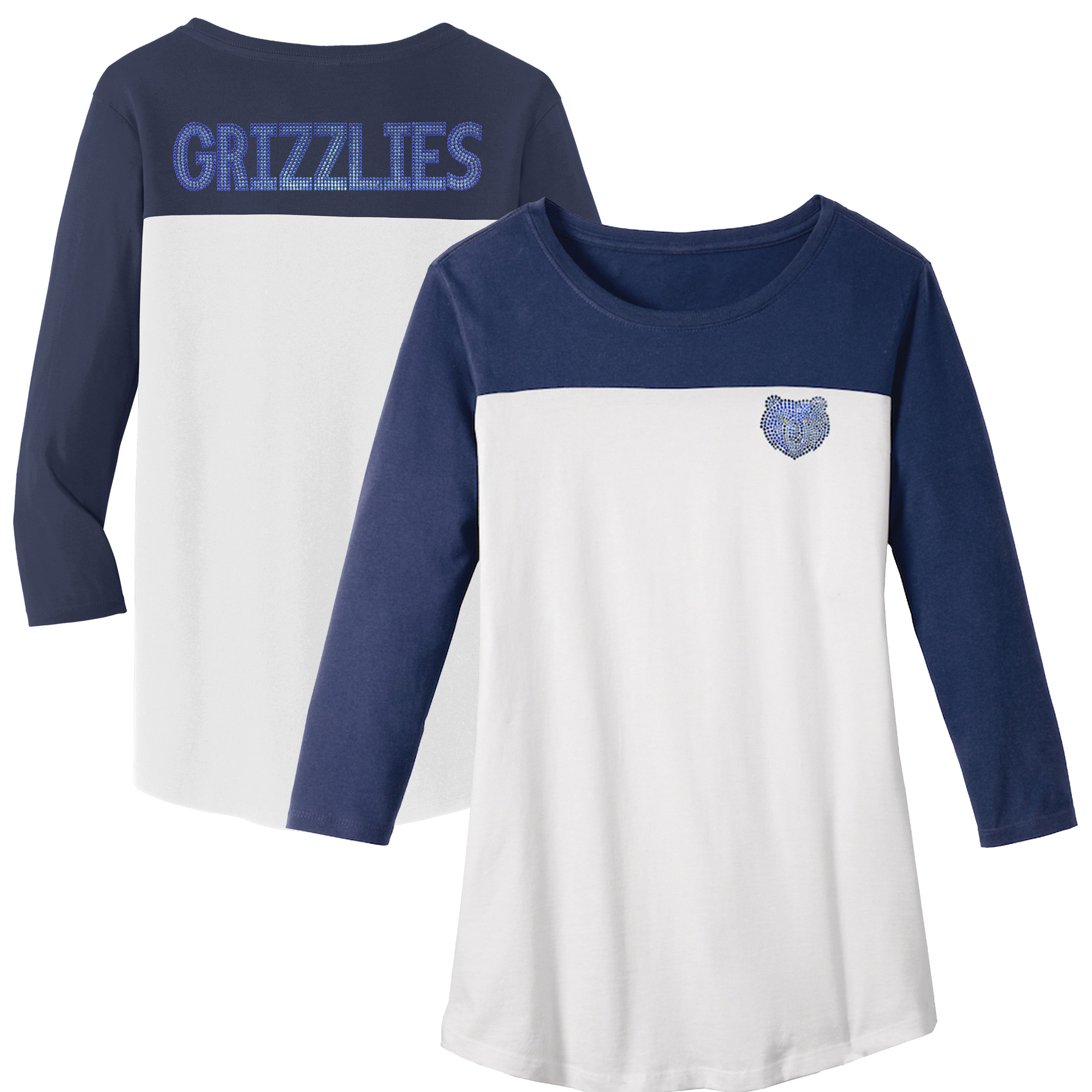 Memphis Grizzlies Women's Rally Rhinestone Color Blocked 3/4 Sleeve T-Shirt - White